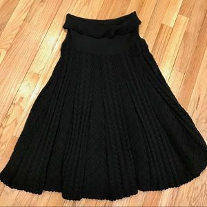 Moth Cable Knit Black Skirt